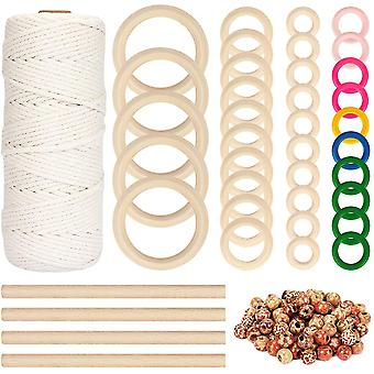 109 Yadrs 3mm Natural Macrame Cord With 100 Pcs Unfinished Wood Beads