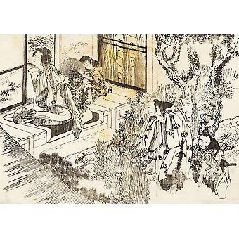 Katsushika Hokusai - Man is Watching a woman Poster Print Giclee