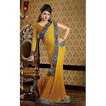 Chaitali gelb Faux Crepe Luxus Party tragen Sari saree