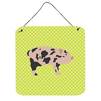 Mini Miniature Pig Green Wall or Door Hanging Prints