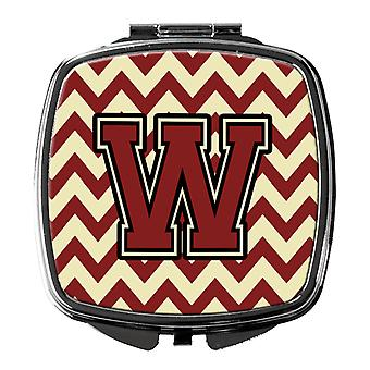 Carolines Treasures  CJ1061-WSCM Letter W Chevron Maroon and Gold Compact Mirror
