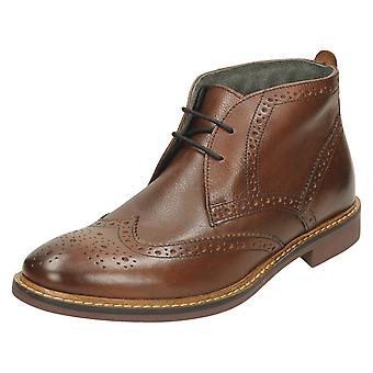 Mens Base London Formal Ankle Boots Trick - Grain Brown Leather - UK Size 12 - EU Size 46 - US Size 13