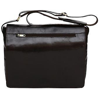 """Luxe lederen 16"""" Laptop Case Flapover Cross Body schouder Messenger Bag Satchel"""