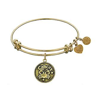 Smooth Finish Brass Cancer June Angelica Bangle Bracelet, 7.25""
