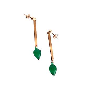 Onyx øreringe SHARONA grøn Onyx dråbe øreringe forgyldt
