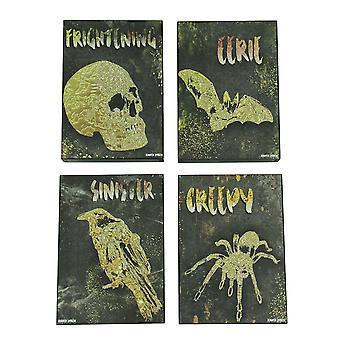 Set de 4 décorations murales de bloc en bois sur le thème Halloween sombrement élégant