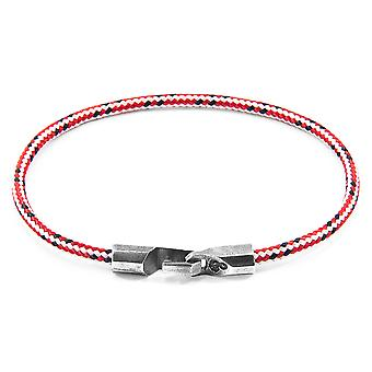 Anchor & Crew Red Dash Talbot Silver and Rope Bracelet