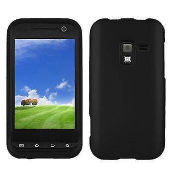 Housse Etui caoutchouté Snap-On la peau dure pour Samsung Conquer 4G SPH-D600 - noir