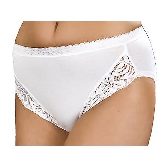 Ladies Combed Cotton & Lace High Leg Stretch Brief pants knicker Underwear 3pack