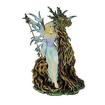 Blue Forest Fairy Sitting with Tree Dragon Spirit Statue