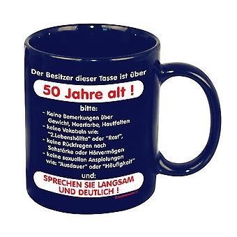 Op de leeftijd van 50 jaar! Cup blauw, bedrukt, keramiek.