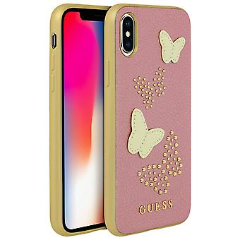 Guess gold glitter butterfly faux leather case for Apple iPhone X/XS - Pink