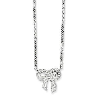 925 Sterling Silver Solid Polished Rhodium plated CZ Cubic Zirconia Simulated Diamond Bow on Rolo Chain Necklace 16 Inch