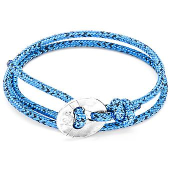 Anchor and Crew Lerwick Silver and Rope Bracelet - Blue Noir