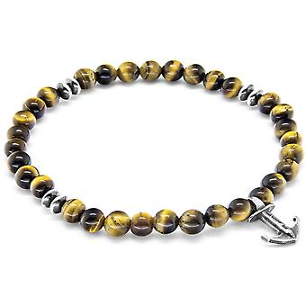 Anchor and Crew Starboard Silver and Tigers Eye Stone Bracelet - Brown/Silver