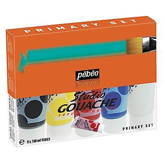Pebeo Studio gouache verf primaire set 5 x 100 ml