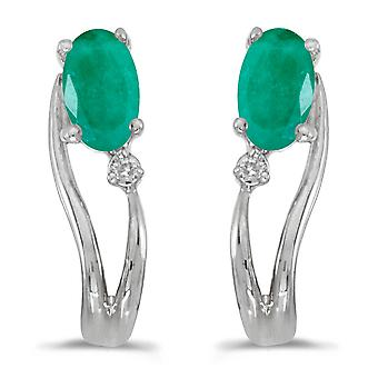 LXR 14k White Gold Oval Emerald and Diamond Wave Earrings 0.32ct