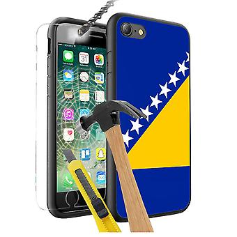 For Apple iPhone 7 - Bosnia and Herzegovina Flag Design Printed Black Case Skin Cover with Tempered Glass - 0022 by i-Tronixs