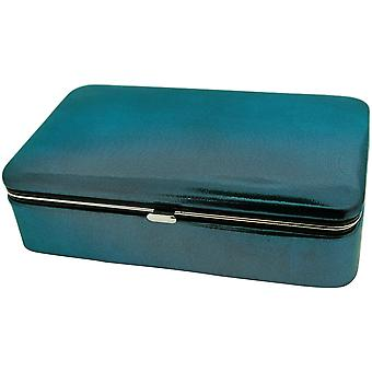 Mele Devon Blue Metallic Jewellery Solid Case Ideal For Travel 56040