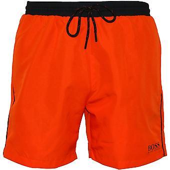 BOSS Starfish Swim Shorts, Orange With Black Contrast