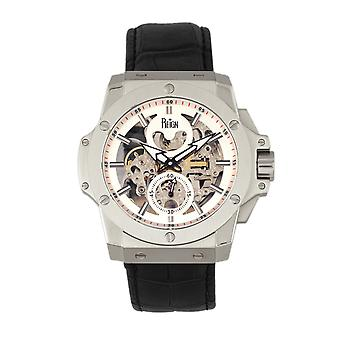 Reign Commodus Automatic Skeleton Leather-Band Watch - Silver