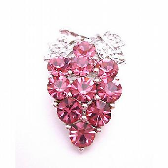 Pink Rose Crystal Silver Casting Leaves Crystals Prom Brooch