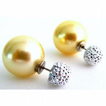 Tidlösa gul pärla dubbel dubbelsidig Stud örhängen bana bollen örhängen