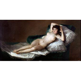 The Naked Maja, Francisco Jose de Goya, 80x40cm