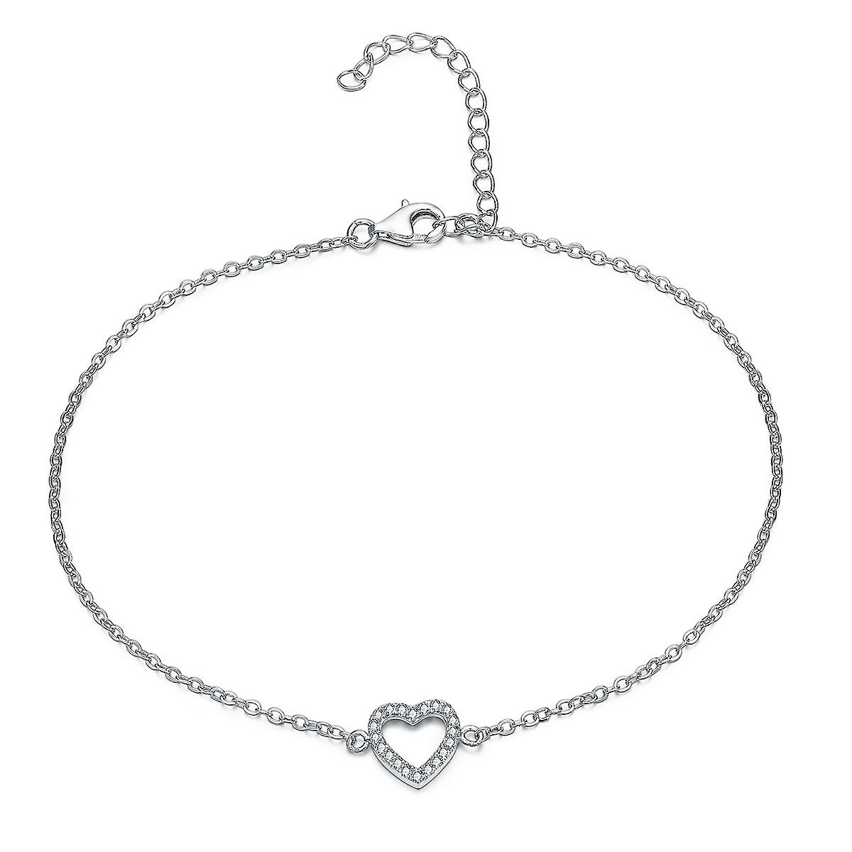 925 Sterling Silver Elegant Heart Pave Ankle Chain