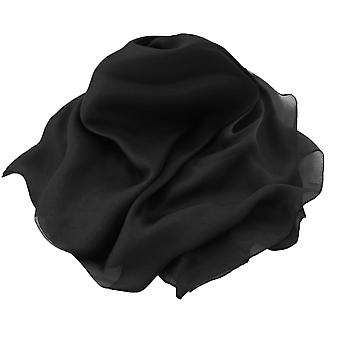 Eternal Collection Plain Black Oblong Pure Silk Chiffon Scarf