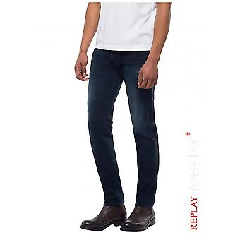 Replay Jeans Slim Fit Hyperflex +  Anbass Jeans - Dark Blue