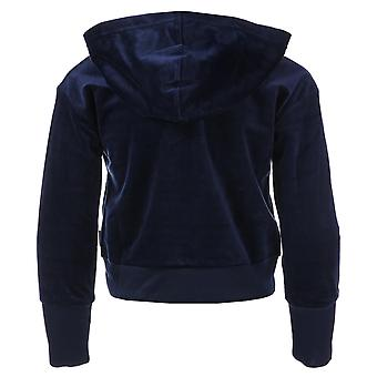 Infant Girls Converse Cropped Zip Velour Hoody In Navy- Cropped Finish- Half Zip