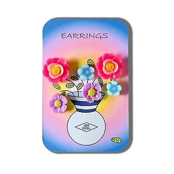Carte de l'histoire de boucles d'oreilles fleur en fimo (3 paires)