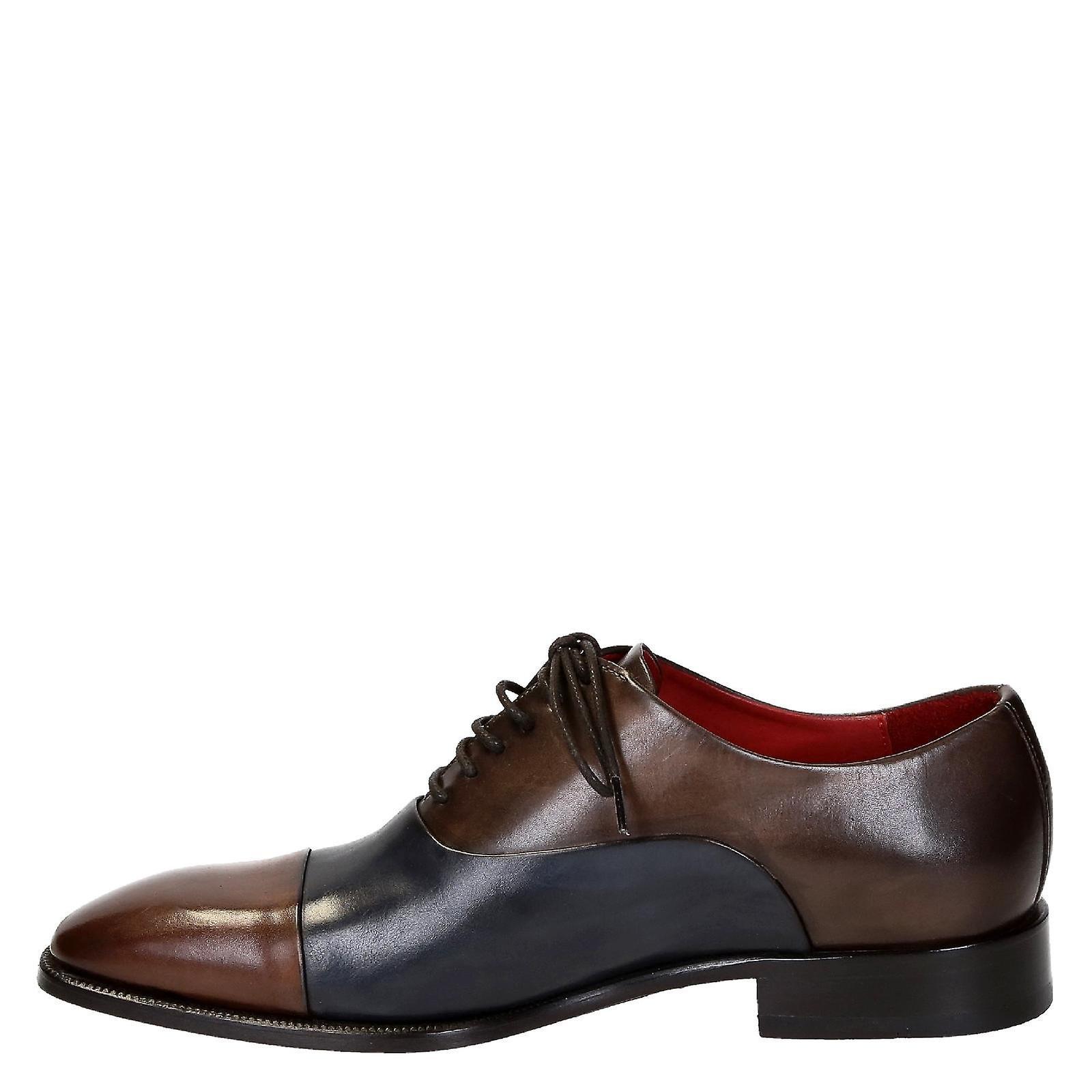 Chaussures Leonardo Sngbluebrownleat Men-apos;s Chaussures à lacets en cuir bleu/brun