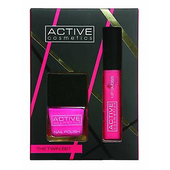 Active D# Active Cosmetics The Twin Set Nail Varnish And Lip Gloss