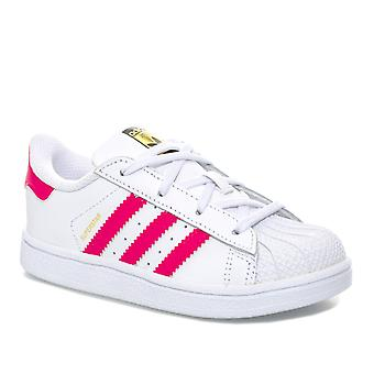 Infant jenter Adidas Originals Superstar trenere i hvit rosa-Lace festing-