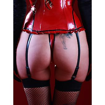 Skin Two Clothing Women's G String Thong Lingerie in Rubber Black & Red