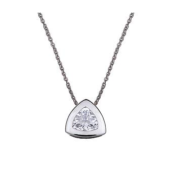 PENDANT WITH CHAIN TRIANGLE 925 SILVER AND ZIRCONIUM