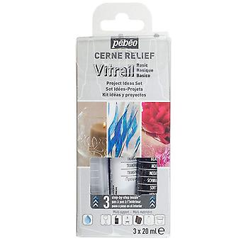 Pebeo Cerne Relief Basic sett 3 x 20ml (transparent, svart & sølv)