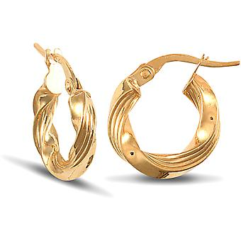 Jewelco London Ladies 9ct Yellow Gold Ribbed Twisted 3mm Boucles d'oreilles Hoop 14mm