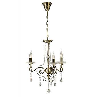 Diyas Libra hänge 3 ljus antik mässing/kristall