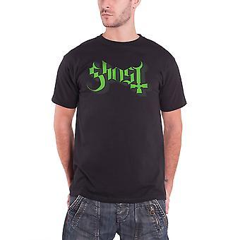 Ghost Mens T Shirt zwart fundamentele groene sleutellijn belettering Logo ambtenaar