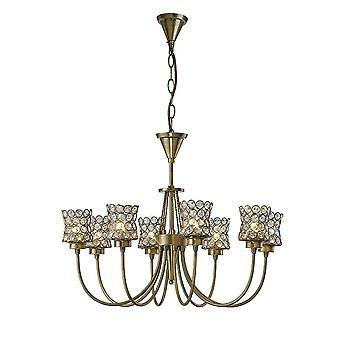 Diyas Nelson Pendant 8 Light Antique Brass/Crystal