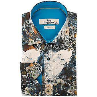 Клаудио Lugli синий павлин печати Мужская рубашка