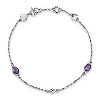 925 Sterling Silver White Ice Amethyst and .01 Ct Diamond Bracelet 7.5 Inch Jewelry Gifts for Women