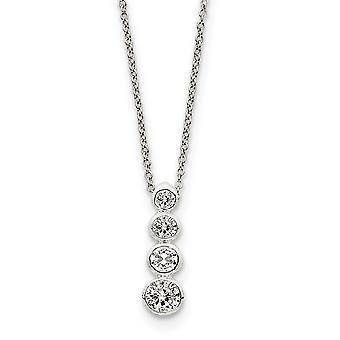 925 sterling sølv bezel polert åpen rygg CZ cubic zirconia simulert diamant reise halskjede 18 tommers våren ring je