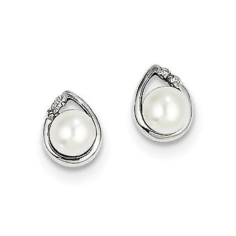 925 Sterling Silver Polished Rhodium 5mm Freshwater Cultured Pearl and Diamond Post Earrings Jewelry Gifts for Women