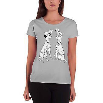 101 Dalmations T Shirt Dalmation Familie offizielle Disney Womens Skinny Fit Grau