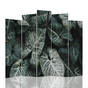 Divisor de habitación decorativa, 5 paneles, doble cara, lienzo, hojas verdes 1