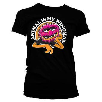 Women's The Muppets Animal Is My Wingman Black T-Shirt